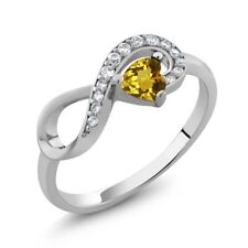 0.33 Ct Heart Shape Yellow Citrine 925 Sterling Silver Infinity Ring