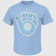NEW Mens MAJESTIC Milwaukee Brewers Baseball Cooperstown Collection Blue T-Shirt