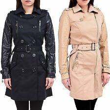 24brands Women's Coat Trench Jacket Between seasons with Faux leather sleeves