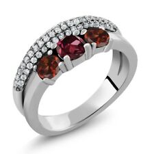 2.05 Ct Round Red Rhodolite Garnet Red Garnet 925 Sterling Silver Ring