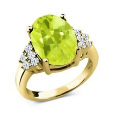 6.20 Ct Oval Checkerboard Yellow Lemon Quartz 18K Yellow Gold Plated Silver Ring
