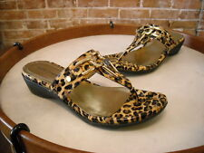 Marc Fisher Alining Brown Leopard Patent Thong Sandal NEW