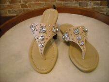 Marc Fisher Gissel Natural Nude Leather Jeweled Thong Sandal NEW