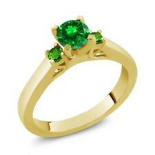0.98 Ct Green Simulated Emerald Simulated Tsavorite 925 Gold Plated Silver Ring
