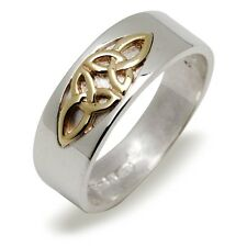 Silver and Gold Irish Celtic Trinity Knot 7mm Wedding Band Ring Celtic Jewellery