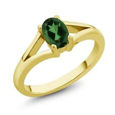 0.80 Ct Oval Emerald Envy Mystic Topaz 18K Yellow Gold Plated Silver Ring
