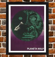 Framed Planet Of The Apes Polish Movie Poster A4 / A3 Size In Black/White Frame