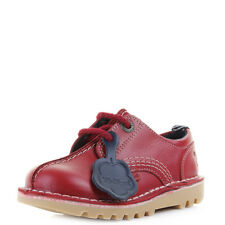 Boys Kids Kickers Kick Reverse Leather Dark Red Lace Up Casual Shoes Uk Size