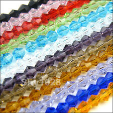 4mm,6mm Bicone Faceted Crystal Glass Spacer Beads 22Color-1 Or Mixed R5011