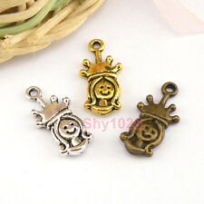 12Pcs Tibetan Silver,Gold,Bronze Princess Crown Charm Pendants Drops M1444