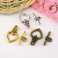 8Sets Tibetan Silver,Antiqued Gold,Bronze Heart Connectors Toggle Clasps M1410