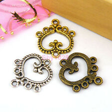 10Pcs Tibetan Silver,Gold,Bronze Heart 1-5 Charms Pendants Connectors M1127
