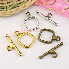 5Sets Tibetan Silver,Antiqued Gold,Bronze Leaf Connectors Toggle Clasps M1422