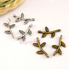 35Pcs Tibetan Silver,Antiqued Bronze Branch Leaf Charm Pendants Drops M1447