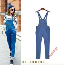 2016 Womens Loose Romper Overall Cotton Strappy Demin Jeans Jumpsuit Pants Size