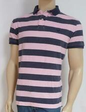 American Eagle Outfitters AEO Navy Pink Rinse Stripe Mens Polo Shirt New NWT