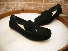 Isaac Mizrahi Adalyn Black Perforated Suede Moccasins Loafer NEW