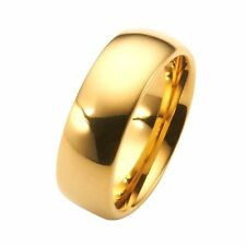 8mm Gold Plated Polished Tungsten Carbide Wedding Ring Classic Half Dome Band