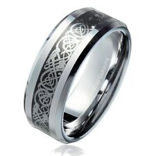 8MM Silver Colored Celtic Dragon With Black Background Tungsten Carbide Ring We