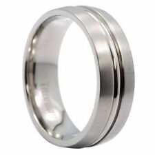 7MM Center Groove With Satin Finish Titanium Wedding Ring