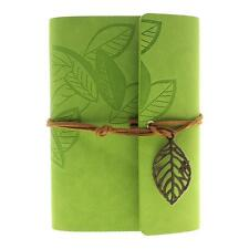 5 Colors Vintage Retro Faux Leather Cover Leaves String Journal Diary Notebook