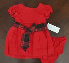 NWT Ralph Lauren Infant Girl SS Red Sateen Party Dress 3m 6m 9m 12m 24m NEW $65