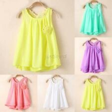 Lovely Toddler Baby Chic Party Sundress Kids Girls Chiffon Vest Tutu Dress Tops