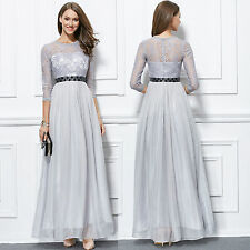New lace chiffon formal evening bridesmaids prom women party dresses long sleeve