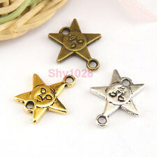 10Pcs Tibetan Silver,Gold,Bronze Star Charms Pendants Connectors M1428