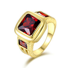 Trendy Size 8,9,10,11,12 Solitaire Red Garnet 18K Gold Filled Wedding Man's Ring