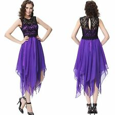 Asymmetric Hem lace chiffon cocktail party Homecoming Prom ball Evening dresses