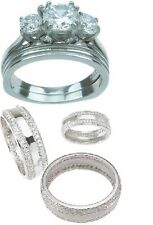 3Pc His Hers Sterling Silver Stainless Steel Cz Engagement Wedding Band Ring Set