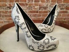 Report Signature Parker Black & White Rhinestone Platform Pumps NEW