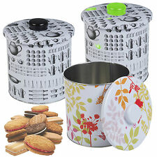 Metal Biscuit Cookie Cake Cupcake Candy Tin Airtight Canister Storage Kitchen