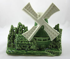 Shawnee Windmill Planter 715 Green White Ceramic Pottery Vintage 1950's USA