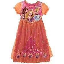 Disney Princess Rapunzel Belle Short Sleeve Nightgown Pajama Girl Size 6/6X 7/8