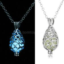 Vintage Necklace Luminous Lighting Glow Hollow Waterdrop Pendant 18in Chain H2O4