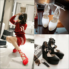 Womens High Platform Wedge Heel Lace Up Ankle Cross Strappy Pumps Casual Shoe