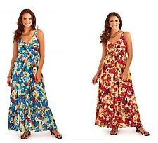 Red Pink Teal  Purple Turquoise Floral Empire Summer Beach Gypsy Sun Dress Maxi