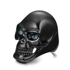 Mens Biker Ring Stainless Steel Skull Head Ring Gothic Biker Punk Band Ring
