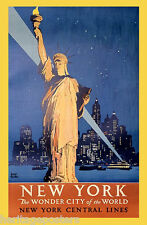 NEW YORK STATUE LIBERTY WONDER CITY OF THE WORLD USA TRAVEL VINTAGE POSTER REPRO