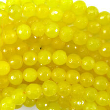 "Faceted Yellow Jade Round Beads Gemstone 15"" Strand 4mm 6mm 8mm 10mm 12mm"