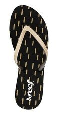 REEF STARGAZER PRINTS BLACK / GOLD WOMENS SANDALS FLIP-FLOPS NEW
