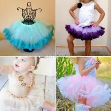 Lovely Girl Kids Floral Lace Tulle Pompon Multi-Layer Skirts Tutu Dance Dress