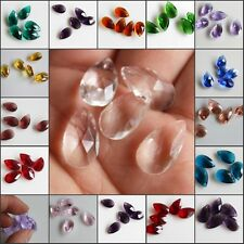 Wholesale 10pcs Faceted Teardrop Glass Crystal Charm Loose Spacer Beads 10x16mm