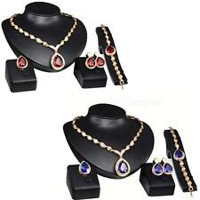 Hot Jewelry Gold Plated Ruby Sapphire Pendant Austrian Crystal Necklace Set MSYG