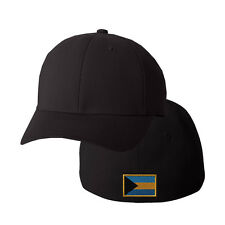 BAHAMAS FLAG Embroidery Embroidered Black Cotton Flexfit Hat Cap