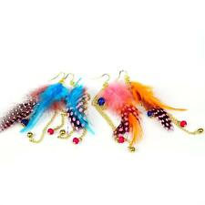 1 Pair Colourful Bohemia Handmade Feather Bead Long Eardrop Dangle Earrings I7W6