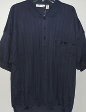Alexxus Men's Shadow Striped Banded Bottom Casual Shirt Navy New With Tags