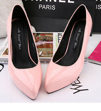 pointed shoes Sexy Womens Mid Kitten Heels Shoes Patent Leather Pumps